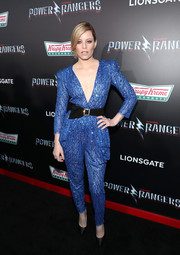 Elizabeth Banks was all about relaxed glamour in a beaded blue jumpsuit by Zuhair Murad Couture at the LA premiere of 'Power Rangers.'