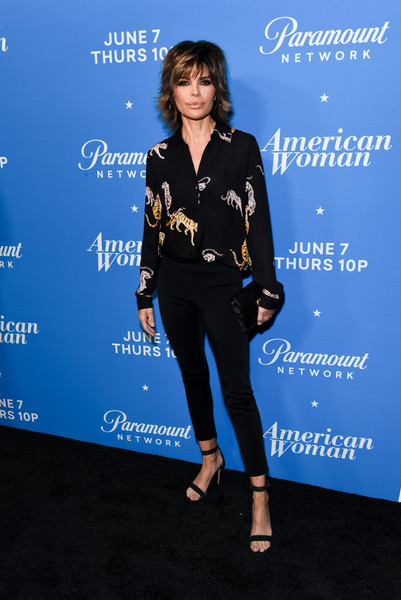 Lisa Rinna Skinny Pants [clothing,cobalt blue,electric blue,pantsuit,carpet,style,arrivals,american woman,lisa rinna,california,los angeles,chateau marmont,paramount network,premiere of paramount network,premiere]