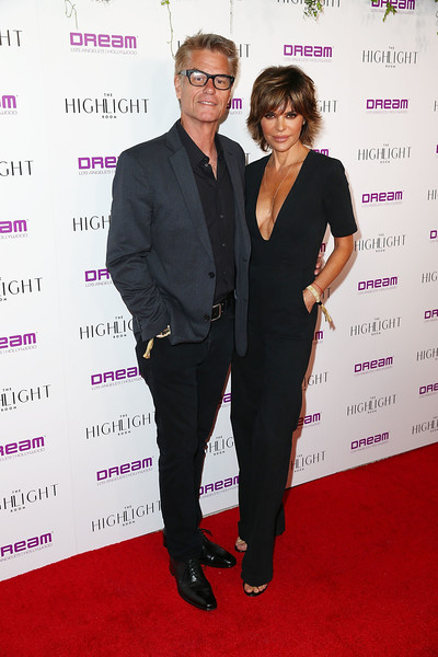 Lisa Rinna Jumpsuit [suit,red carpet,event,carpet,formal wear,tuxedo,premiere,lisa rinna,harry hamlin,dream hollywood,the highlight room,hollywood,california,grand opening of the highlight room at dream hollywood]
