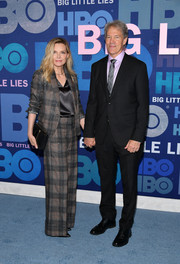 Michelle Pfeiffer teamed a plaid pantsuit with a silk blouse for the premiere of 'Big Little Lies' season 2.