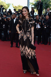 Georgina Chapman attended the Cannes premiere of 'The Little Prince' looking very ladylike in a black and nude lace-panel gown by Marchesa.