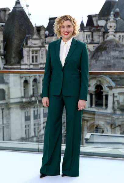 Greta Gerwig opted for a green wide-leg pantsuit by Paul Smith when she attended the 'Little Women' photocall in London.