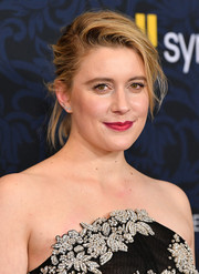 Greta Gerwig opted for a messy updo when she attended the world premiere of 'Little Women.'