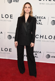 Lily James opted for a tailored black suit by Burberry when she attended the Tribeca Film Festival screening of 'Little Woods.'
