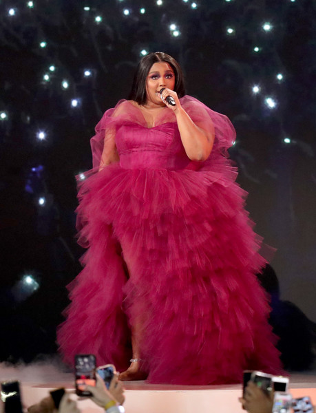 Lizzo Princess Gown [pink,clothing,performance,fashion,lady,dress,beauty,fashion show,event,gown,lizzo,american music awards,microsoft theater,los angeles,california,show]