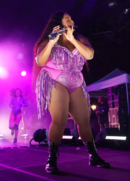 Lizzo Bodysuit [performance,entertainment,performing arts,stage,thigh,performance art,event,public event,leg,music artist,lizzo,lefrak center,brooklyn,new york,lakeside,bustle,rule breakers festival - stage]