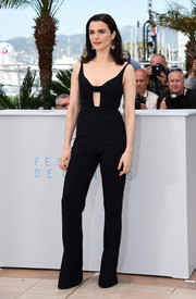 Rachel Weisz oozed sex appeal in a sleek black cutout jumpsuit by Narciso Rodriguez during the 'Lobster' photocall.