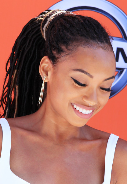 Logan Browning Dreadlocks [hair,face,hairstyle,eyebrow,forehead,beauty,skin,chin,nose,ear,arrivals,logan browning,bet awards,microsoft theater,los angeles,california]