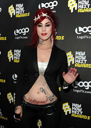 "Tattoo artist Kat Von D shows off her script lettering with this ""Hollywood"" tattoo."
