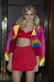 With its loud rainbow colors, Pixie Lott's leather jacket was the perfect choice for the London Lesbian and Gay switchboard celebration.