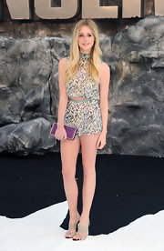 Diana Vickers sported a leopard-print top with matching shorts while at the London premiere of 'The Lone Ranger.'