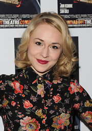 Sarah Goldberg wore a bright rich cranberry lipstick at the opening night of 'Look Back in Anger' on Broadway.