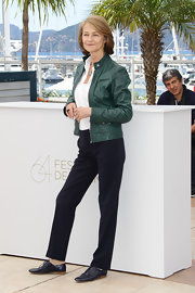 Charlotte Rampling was casually sophisticated at the photocall for 'The Look' in navy blue leather brogues.