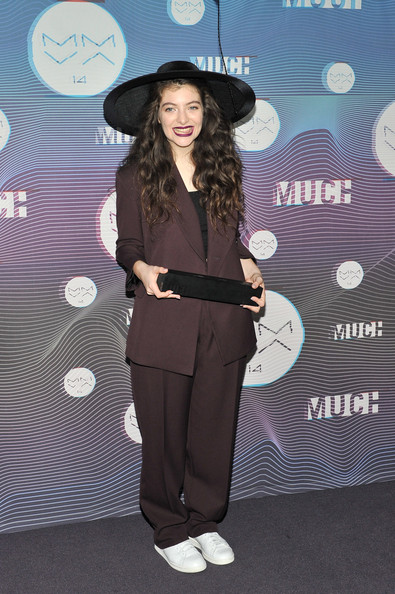 Lorde Leather Sneakers [clothing,fashion,fun,headgear,pantsuit,photography,suit,formal wear,hat,style,muchmusic video awards,room,press room,toronto,canada,muchmusic hq,lorde]