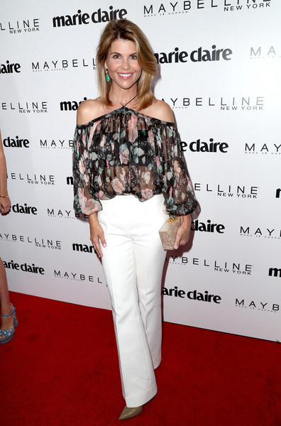 Lori Loughlin Wide Leg Pants [clothing,shoulder,hairstyle,fashion,premiere,joint,footwear,flooring,long hair,photography,arrivals,marie claires,lori loughlin,fresh faces,west hollywood,california,doheny room,maybelline,celebration,event]
