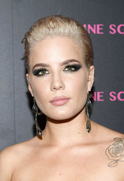 Halsey worked a '50s slick 'do at the launch of the Eye Bangle.