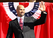 Albert Pujols showed off his team pride with a red, white, and blue striped tie.