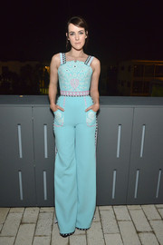 Jena Malone looked downright darling in a bright blue jumpsuit by Ulyana Sergeenko Couture at the Los Angeles Confidential October issue celebration.