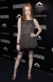 Ellie Bamber was edgy-glam in a beaded tulle and lace dress by Chanel at the Los Angeles Confidential Spring Oscars issue celebration.