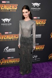 Lydia Hearst attended the premiere of 'Avengers: Infinity War' wearing a sheer, micro-beaded gown by Raisa & Vanessa.