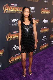 Laura Harrier looked fashion-forward in this artsy LBD by Paco Rabanne at the premiere of 'Avengers: Infinity War.'