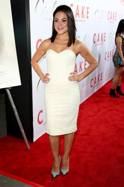 Pastel-blue pumps with metal tips added a hint of edge to Camille Guaty's sweet look.