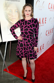 Thora Birch made an appearance at the 'Cake' premiere wearing a fuchsia and black giraffe-print dress.