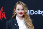 Emma Stone added a hint of sparkle with a pair of dangling diamond earrings by Louis Vuitton.