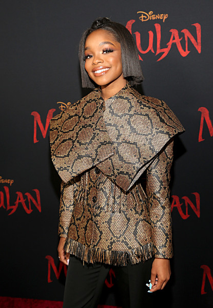 Marsai Martin looked fierce in a structured snakeskin-print jacket by Nina Ricci at the world premiere of 'Mulan.'