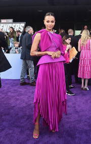 Zoe Saldana made a bold statement with this pleated one-sleeve magenta dress by Givenchy Couture at the world premiere of 'Avengers: Endgame.'