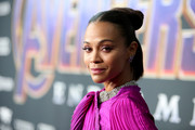 Zoe Saldana styled her hair into a knotted half updo for the world premiere of 'Avengers: Endgame.'