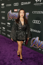 Ming-Na Wen styled her look with a pair of red velvet platform pumps by Loriblu.