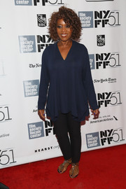 Alfre Woodard was casual yet stylish in a loose blue blouse and a pair of skinnies during the New York Film Festival.