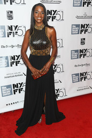 Kelsey Scott was edgy-glam at the New York Film Festival in a black evening dress with a studded bodice.