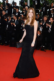 Barbara Palvin chose this fit-and-flare black lace gown for her look at the premiere of 'All Is Lost.'