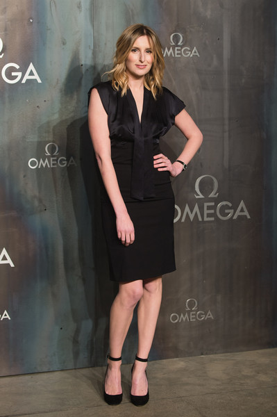 Laura Carmichael was business-chic in a tie-neck LBD at the Lost in Space event.