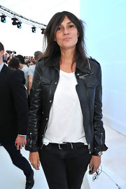 Emmanuelle Alt was the epitome of grungy cool as she attended the Louis Vuitton show in a leather jacket with silver details.