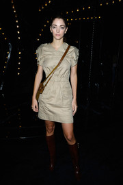 Sofia Sanchez Barrenechea was casual yet smart in a nude mini dress during the Louis Vuitton fashion show.