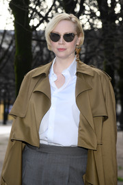 Gwendoline Christie accessorized with ultra-modern floating-lens shades at the Louis Vuitton Menswear show.