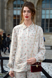 Antonine Peduzzi went matchy-matchy with this floral blouse and pants combo at the Louis Vuitton fashion show.