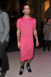 Marc Jacobs wore this pink polo dress to the Louis Vuitton exhibit in Paris.