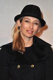 Alexandra Golovanoff wore this sharp fedora to the Louis Vuitton exhibition in Paris.