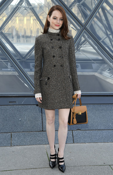 Emma Stone finished off her outfit with a pair of strappy patent pumps.