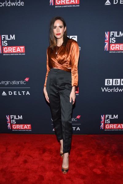 Louise Roe High-Waisted Pants [film is great reception,clothing,carpet,red carpet,red,premiere,flooring,footwear,event,jeans,trousers,nominees,nominees,louise roe,british,california,los angeles,the british residence,the 90th annual academy awards,great british film reception]