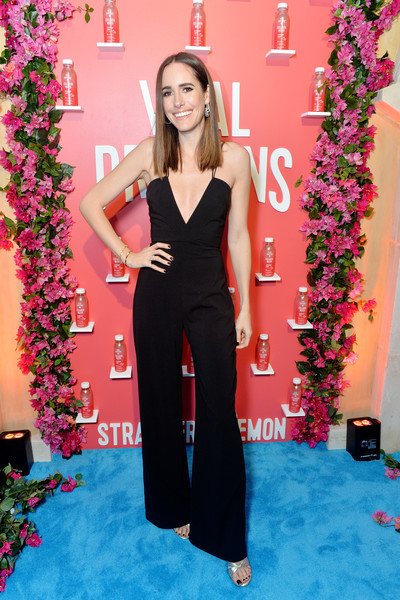 Louise Roe Jumpsuit [clothing,dress,red carpet,carpet,fashion,long hair,shoulder,formal wear,flooring,gown,louise roe,proteins collagen water product launch event,vital proteins collagen water product launch event,irvine,california]