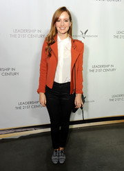 Ahna O'Reilly was moto-chic in a zippered rust-colored blazer during the Q&A with Ann Curry event.