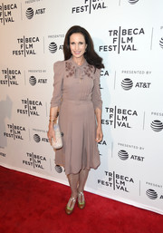 Andie MacDowell channeled the '40s with this taupe midi dress by Bottega Veneta at the Tribeca Film Fest premiere of 'Love After Love.'