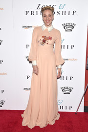 Chloe Sevigny's peach Prada frock was oh-so-elegant with a white collar and floral embellishments at the 'Love & Friendship' New York screening.