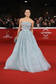 Ziyi Zhang was sparkling at the 'Love for Life' premiere in a sky blue beaded strapless cocktail dress with a bow-adorned waist.