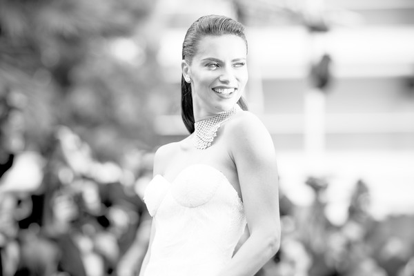 More Pics of Adriana Lima Diamond Statement Necklace (1 of 86) - Adriana Lima Lookbook - StyleBistro [image,photograph,white,black-and-white,monochrome photography,facial expression,people,monochrome,beauty,dress,shoulder,red carpet arrivals,adriana lima,loveless,cannes,france,cannes film festival,screening,palais des festivals]